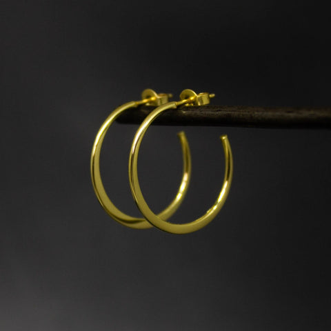 Minimal Gold Vermeil Hoop Earrings