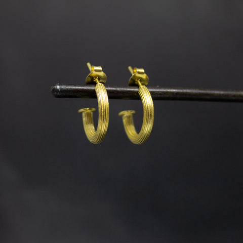 Gold Vermeil Ridged Hoop Earrings