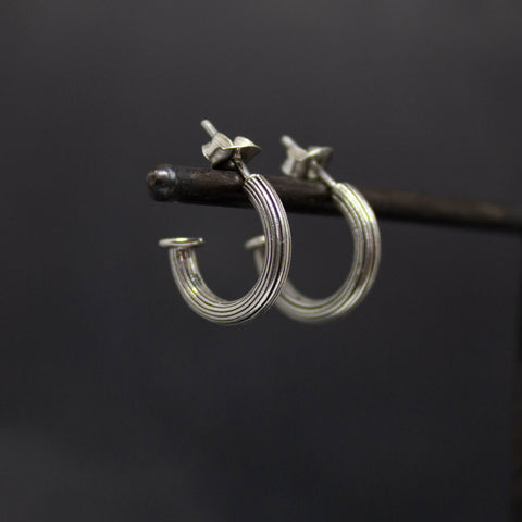 Oxidised Silver Ridged Hoop Earrings