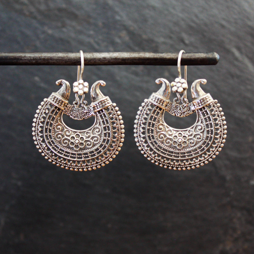 Oxidised Silver Filigree Drop Earrings