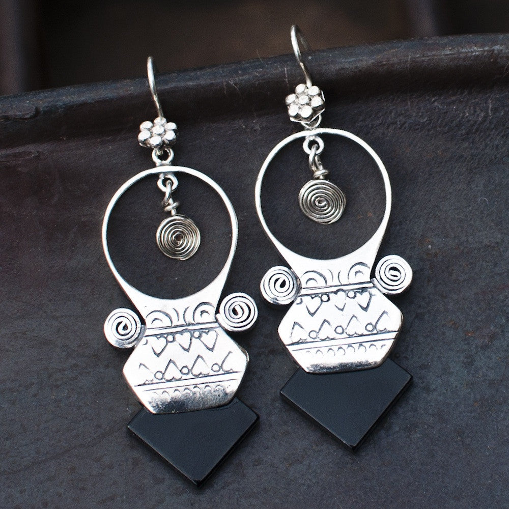 Black Onyx and Sterling Silver 'Tuareg' Earrings - Beyond Biasa
