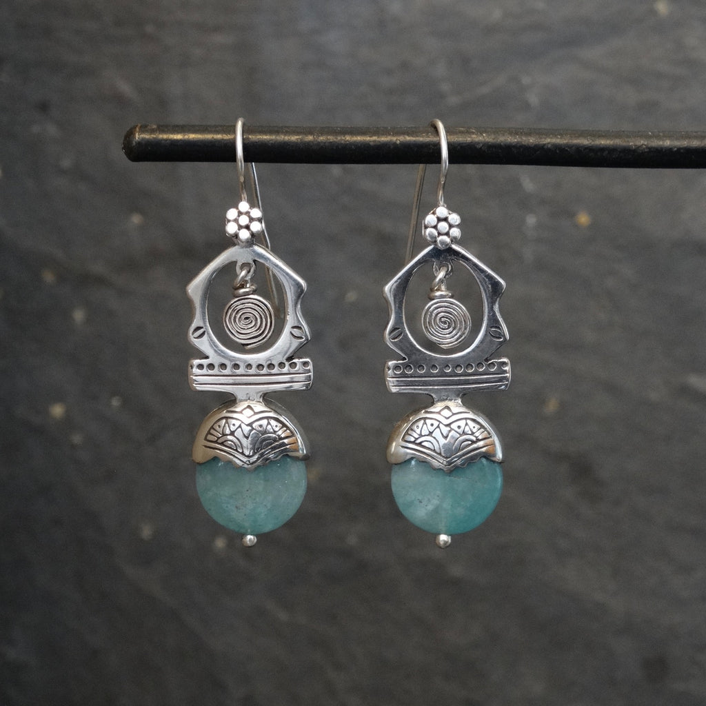 Sterling Silver and Aqua 'Tuareg' Earrings - Beyond Biasa