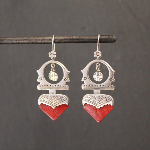 Sterling Silver and Bamboo Coral 'Tuareg' Earrings - Beyond Biasa