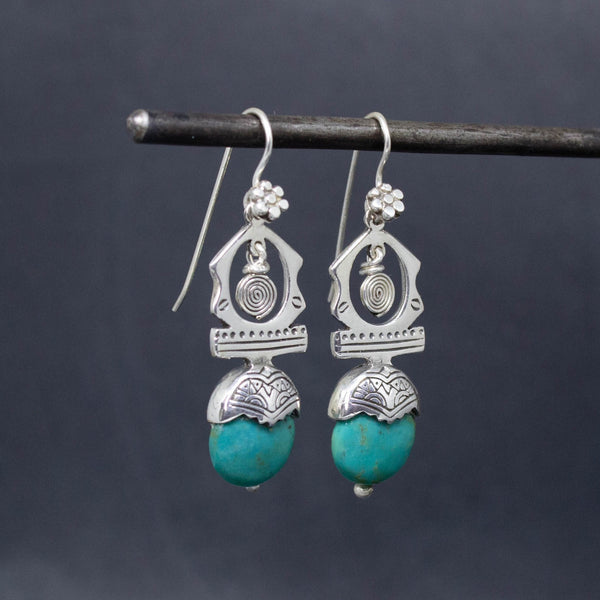 Turquoise and Sterling Silver 'Tuareg' Earrings