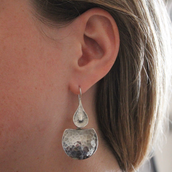 Sterling Silver Hammered Drop Earrings