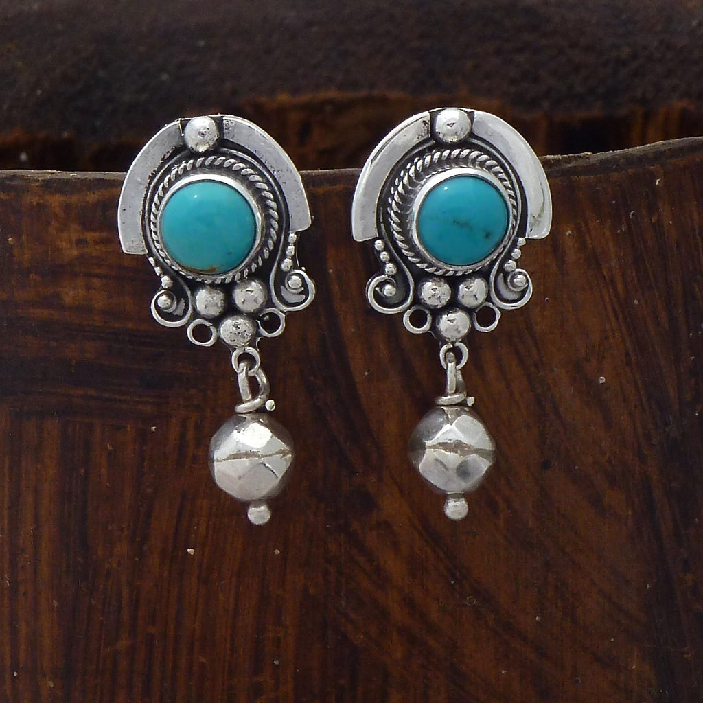 Turquoise and Sterling Silver Detail Stud Earrings with Geometric Bead - Beyond Biasa