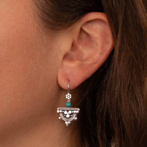 Turquoise and Sterling Silver Telsum Earrings