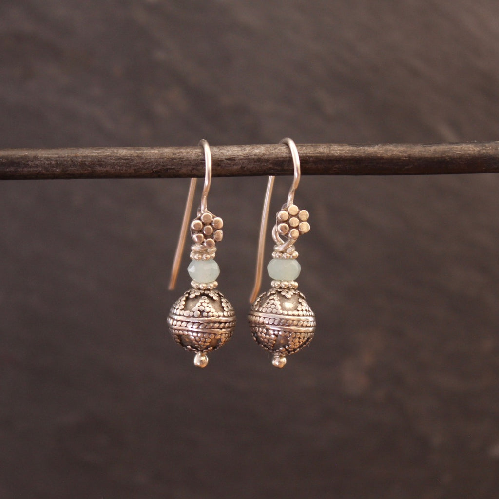 Amazonite and Sterling Silver Balinese Granulation Bead Earrings