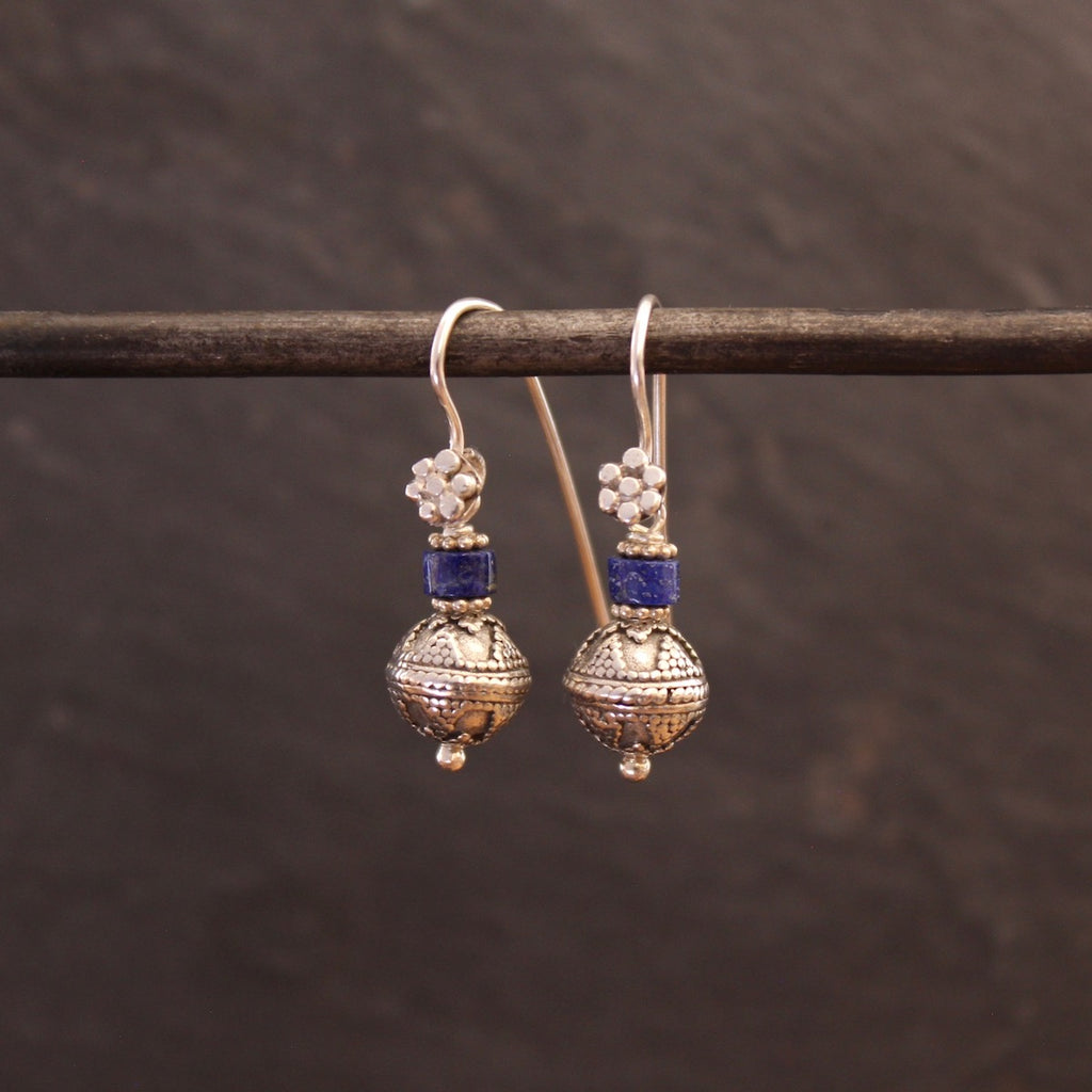 Lapis Lazuli and Sterling Silver Balinese Granulation Bead Earrings