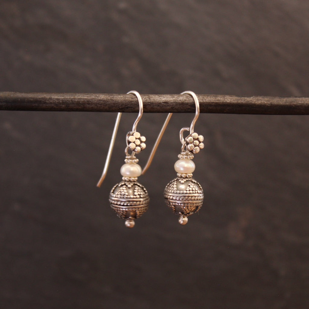 Freshwater Pearl and Sterling Silver Balinese Granulation Bead Earrings