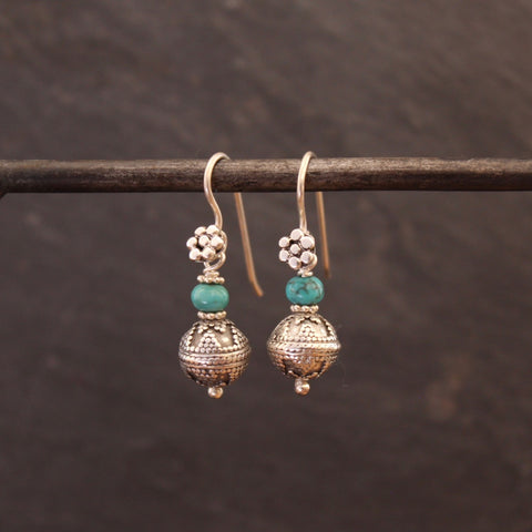 Turquoise and Sterling Silver Balinese Granulation Bead Earrings