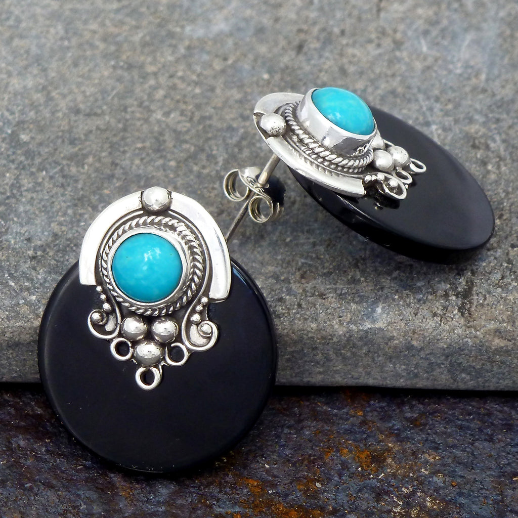 Black Onyx and Turquoise Stud Earrings - Beyond Biasa