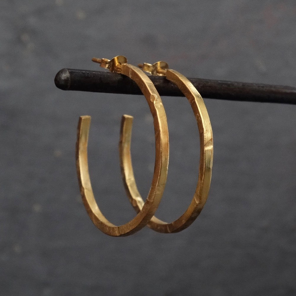 Textured Gold Vermeil Hoop Earrings - Beyond Biasa