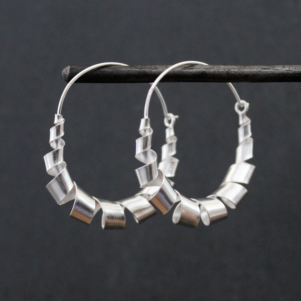 Sterling Silver Ribbon Hoop Earrings - Beyond Biasa