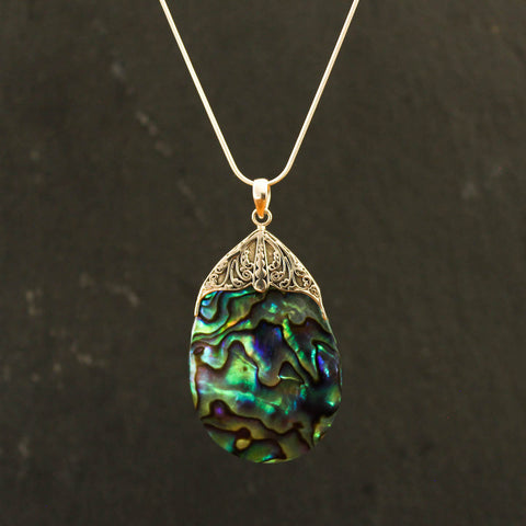 Abalone and Sterling Silver Filigree Pendant Necklace