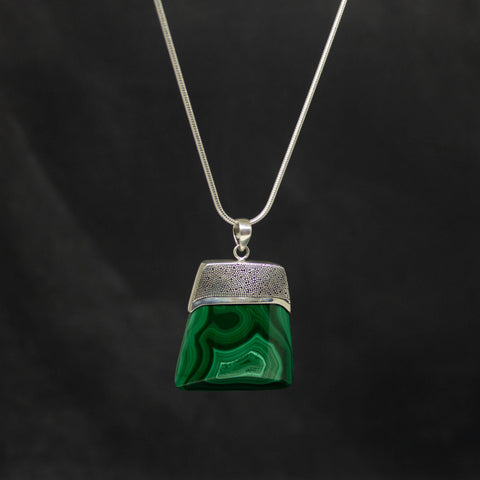 Malachite and Silver Granulation Square Pendant Necklace