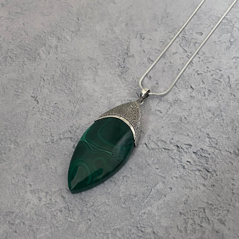 Malachite and Silver Granulation Pendant Necklace