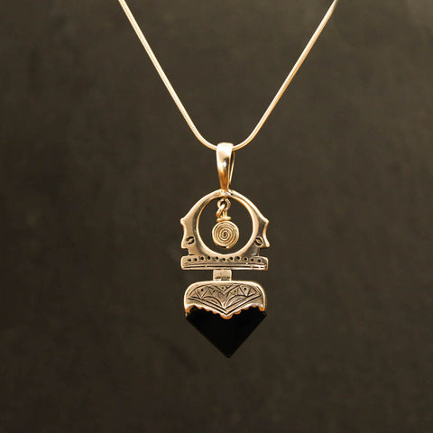 Black Onyx and Sterling Silver 'Tuareg' Pendant and Chain