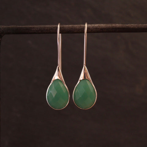 Chrysoprase and Sterling Silver Teardrop Earrings