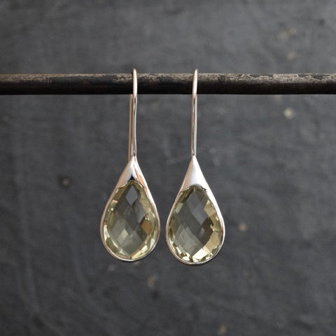 Lemon Topaz and Sterling Silver Teardrop Earrings