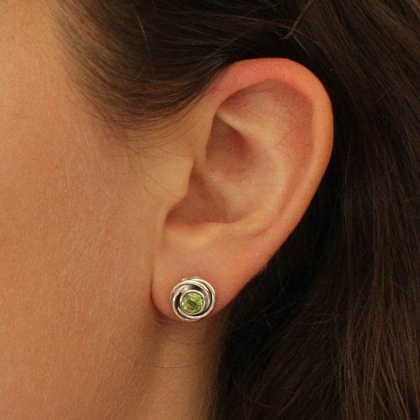 Peridot and Sterling Silver Nest Stud Earrings