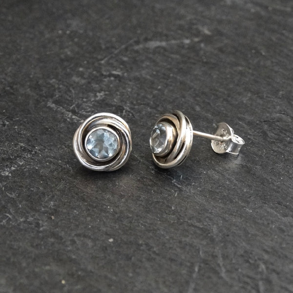 Blue Topaz and Sterling Silver Nest Stud Earrings - Beyond Biasa