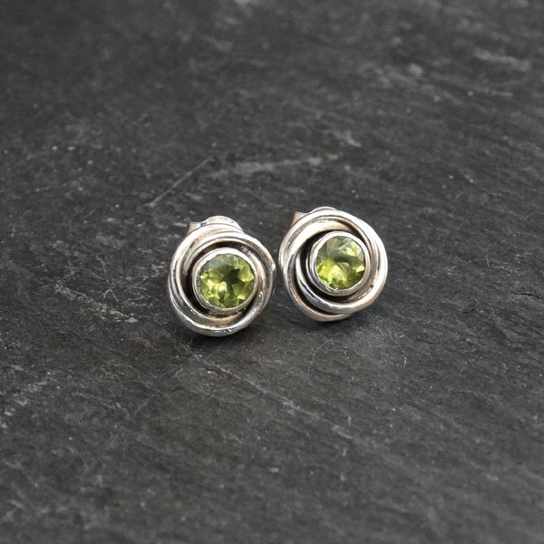 Peridot and Sterling Silver Nest Stud Earrings - Beyond Biasa