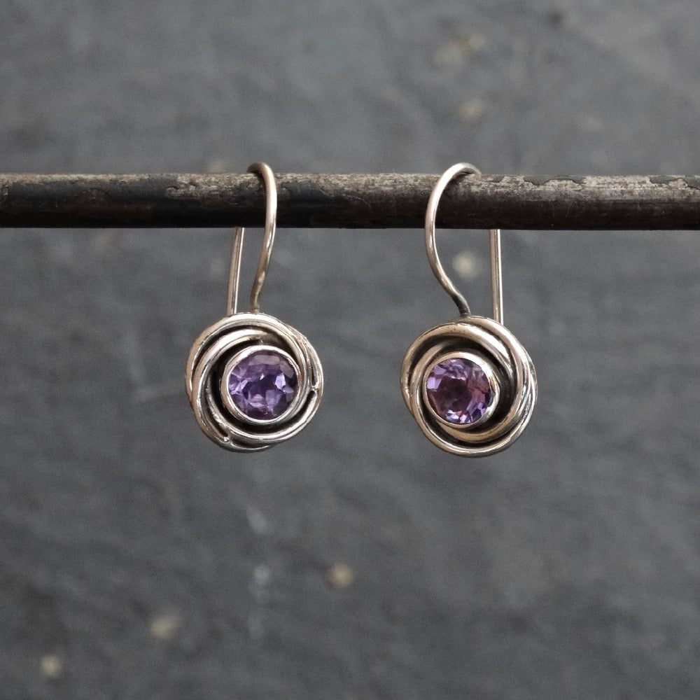 Amethyst and Sterling Silver Nest Drop Earrings - Beyond Biasa