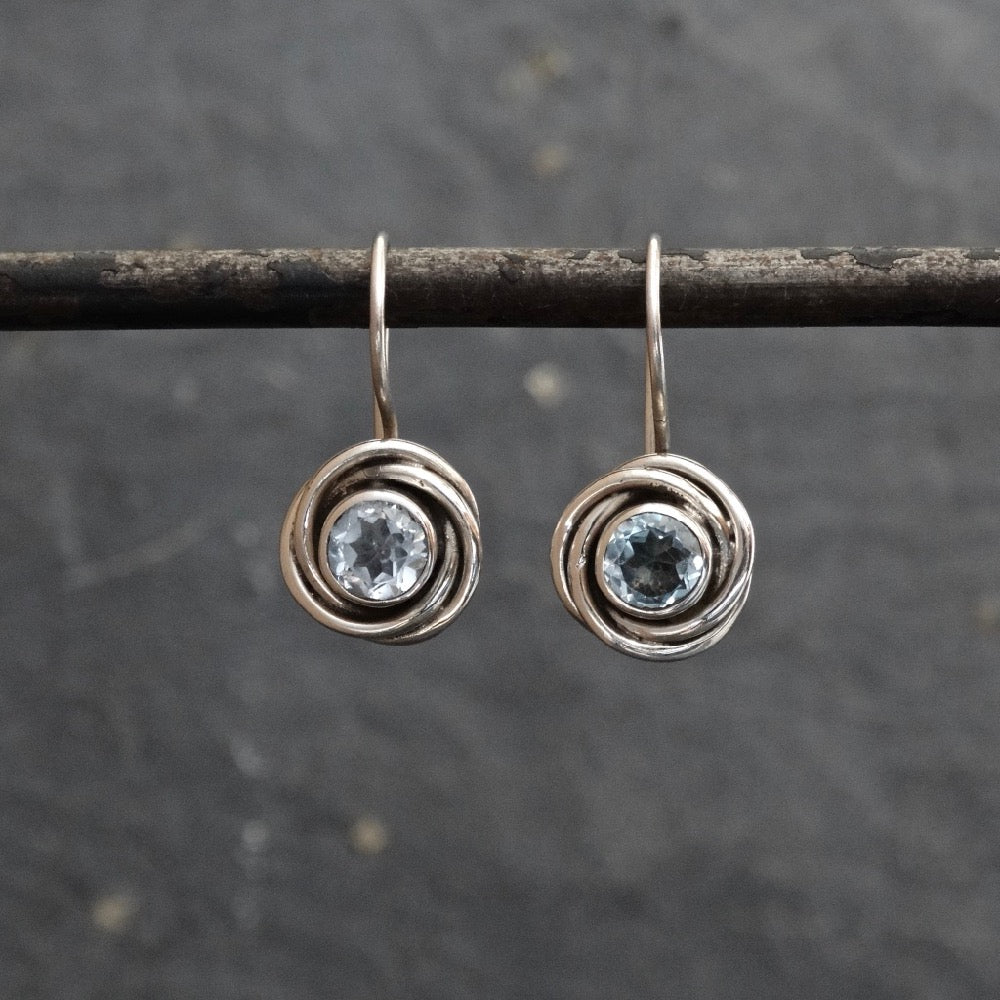 Blue Topaz and Sterling Silver Nest Drop Earrings - Beyond Biasa