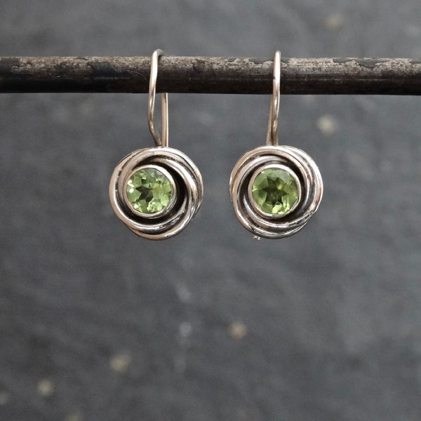 Peridot and Sterling Silver Nest Drop Earrings - Beyond Biasa