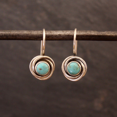 Turquoise and Sterling Silver Nest Drop Earrings