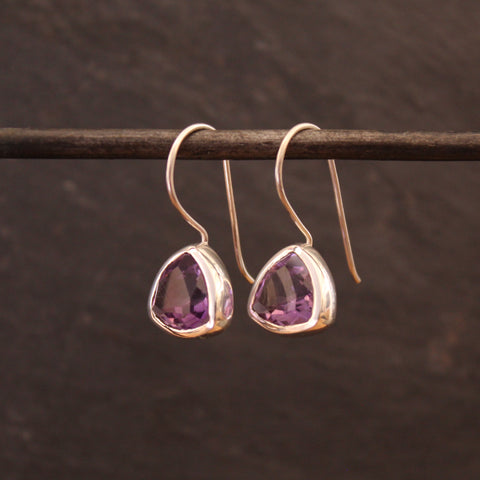 Faceted Amethyst and Silver Drop Earrings