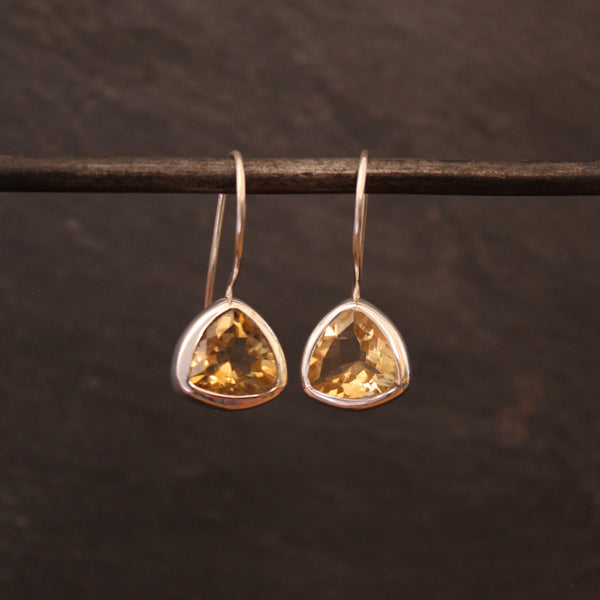 Faceted Citrine and Silver Drop Earrings