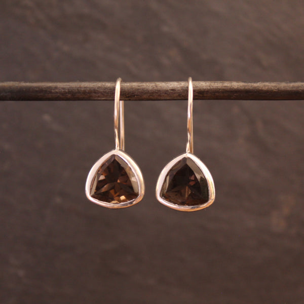 Faceted Smokey Quartz and Silver Drop Earrings