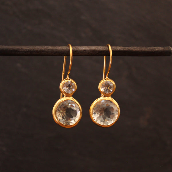Gold Vermeil and Green Amethyst Round Earrings