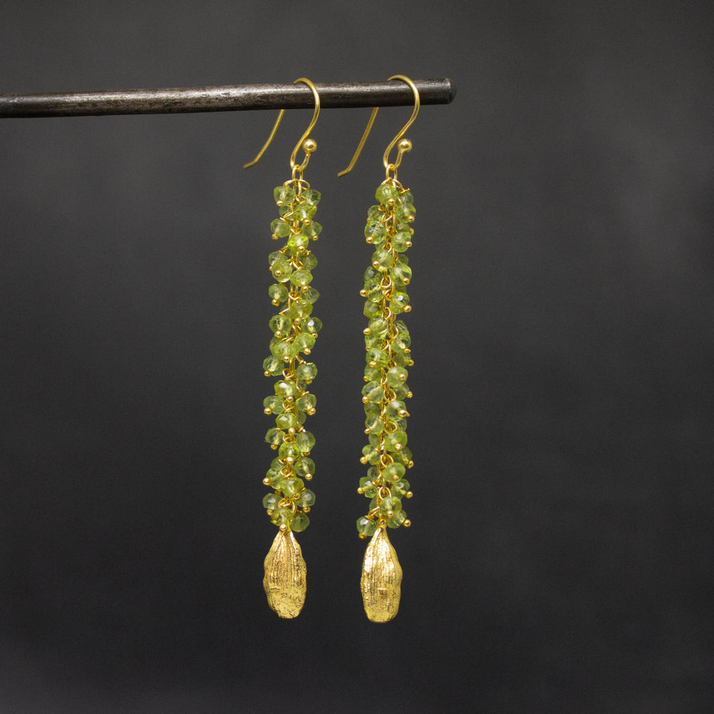 Long Peridot and Gold Vermeil Cluster Drops