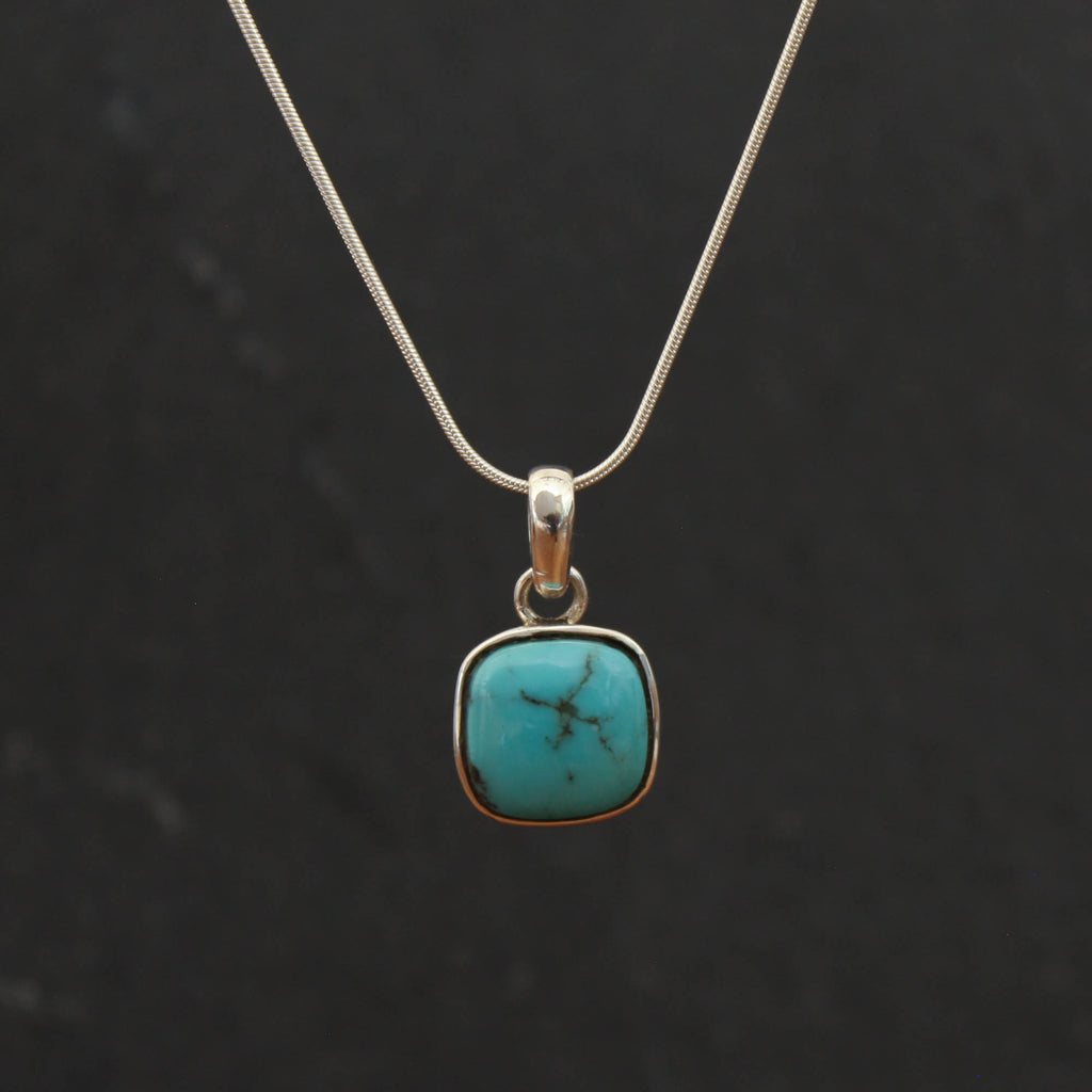Square Turquoise and Silver Pendant
