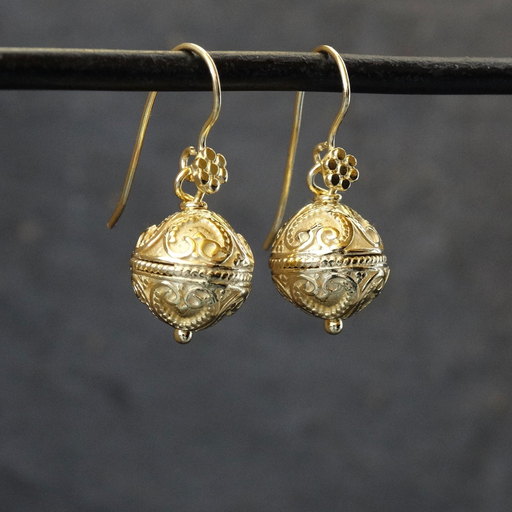 Gold Vermeil  Balinese Granulation Drop Earrings - Beyond Biasa