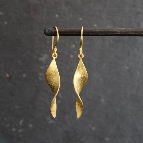Brushed Gold Vermeil Twist Earrings - Beyond Biasa