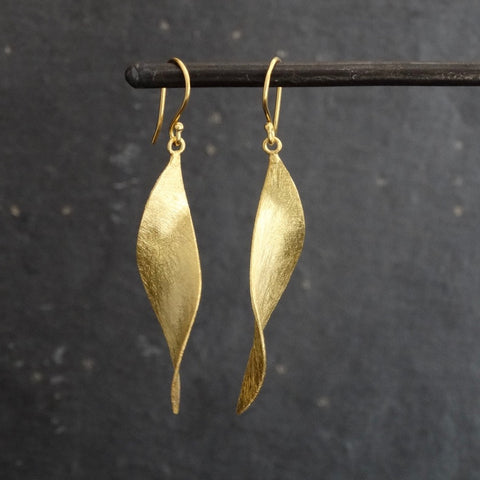 Brushed Gold Vermeil Long Twist Earrings - Beyond Biasa