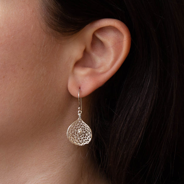 Sterling Silver Mesh Petal Drop Earrings