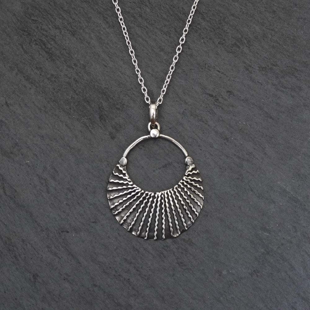 Textured Sterling Silver Pendant Necklace - Beyond Biasa