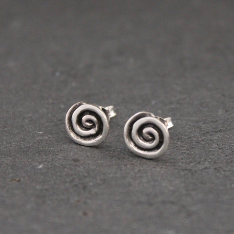 Oxidised Sterling Silver Swirl Stud Earrings - Beyond Biasa