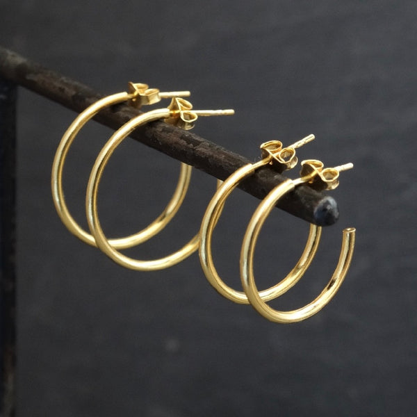 Gold Vermeil Stud Hoop Earrings - Beyond Biasa