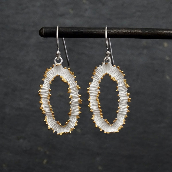 Textured Silver and Gold Vermeil Oval Drop Earrings - Beyond Biasa