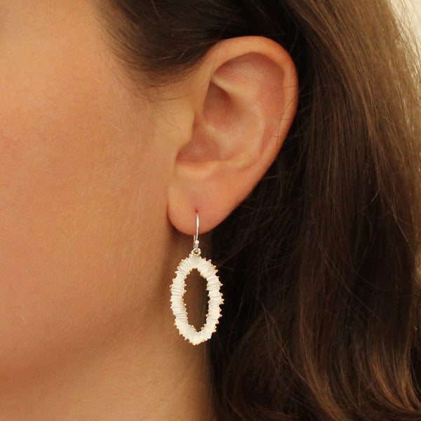 Textured Silver and Gold Vermeil Oval Drop Earrings