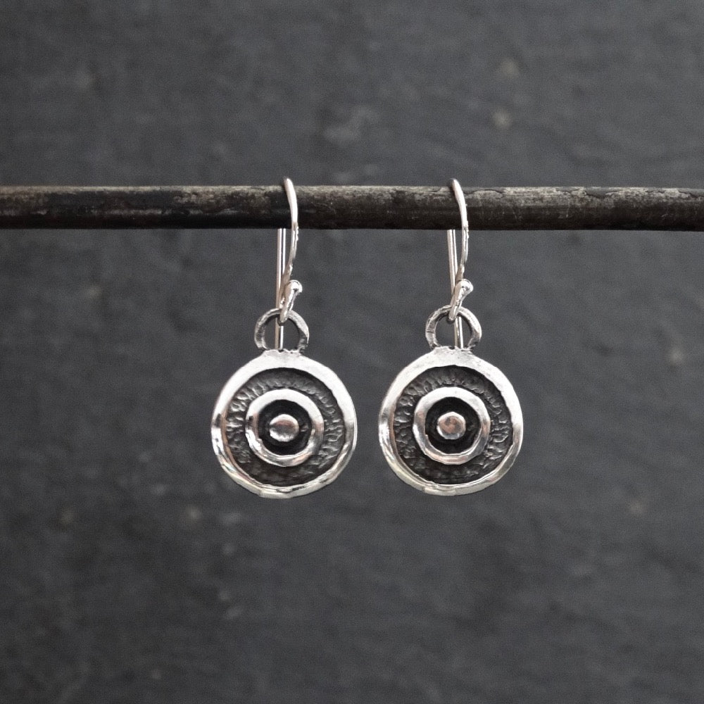 Oxidised Sterling Silver Circles Earrings - Beyond Biasa
