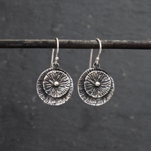 Oxidised Sterling Silver Disc Earrings - Beyond Biasa