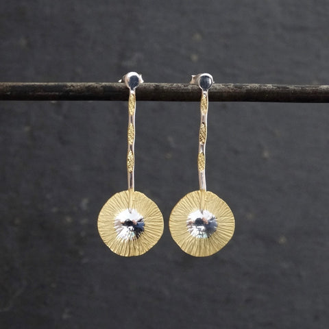 Gold and Silver Scratched Disc Drop Earrings - Beyond Biasa