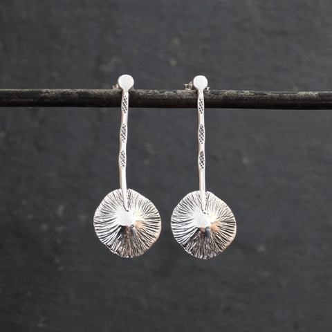 Oxidised Silver Scratched Disc Drop Earrings - Beyond Biasa